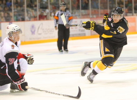 Eric Roy fires a shot for the Brandon Wheat Kings in WHL action. The 17-year-old Beauval blue liner sits in first place in defenceman scoring in the WHL through 28 games this season.