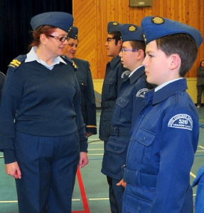 Area cadet officer Capt. Debra Nahachewsky (left) inspects members of air cadet squadron 520 during a recent visit to Meadow Lake. Also pictured are 2nd Lt. Christina Lavallee and Sgt. Kyle Lavallee, AC Ethan Prete and AC Justin Millet.