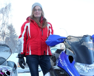 Diana Desjarlais, a snowmobile enthusiast from Buffalo Narrows, is one of two core riders from northwest Sasktachewan.