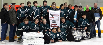 The Meadow Lake Bantam Stampeders recently claimed the North Eastern Alberta Hockey League championship by defeating Lloydminster in the finals. Team members include (in no particular order) Nathan Dancy, Tristan Lariviere, Alex Vidal, Andrew Sonntag, Jayden Cantre, Chris Engelbrecht, Jessie Hawryliw, Jonathan Cheze, Shane Hounsell, Bradley Daigneault, Jay Cantre, Jadyn Trimble-Brander, Owen Dancy, Jace Normand, Sam Esau, Thomas Ethier, coaches Gary Vidal, Marlon Dancy, Lloyd Esau, manager Nigel Hopkinson and trainer Ian Sonntag.
