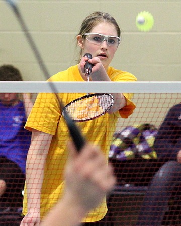 Carah Oftedal sets up a serve in mixed doubles. The Grade 9 Jonas Samson Junior High School student took part in the badminton tournament at Gateway Elementary School in Meadow Lake April 12.