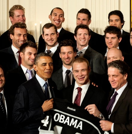 Former Meadow Lake resident Dwight King (back row, second from left) joined his Los Angeles Kings teammates for a visit to the the White House in Washington D.C. Submitted photo.