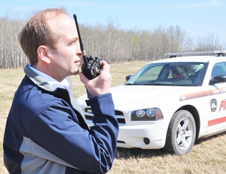 Meadow Lake fire chief Neil Marsh on location at a brush fire May 11. During last week's city council meeting, the fire department's increasing budget was a topic for discussion for local legislators.