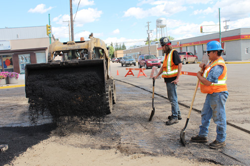 The first block of Centre Street in Meadow Lake was closed July 12 as construction crews moved in to repave the roadway. Work on the street, as well as other projects in the community, is being completed by city crews and workers with G & C Asphalt Services from North Battleford.