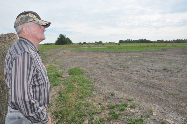 RM of Meadow Lake resident Bob McIntyre inspects a piece of land where he traditionally grows and harvests hay. Because of high levels of water this year, the land is now barren.