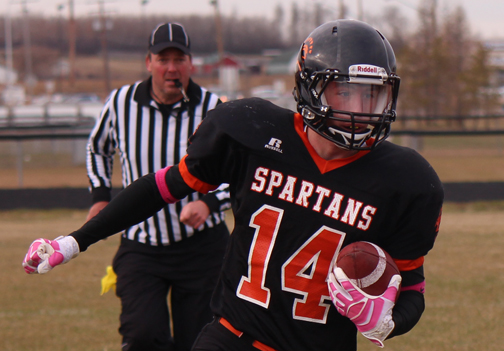 CHS player Kohl Eide takes the ball down the field during the Spartans' 56-12 SHSAA quarterfinal victory over Nipawin Oct. 26.