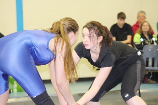 On Jan. 18, Gateway Elementary School in Meadow Lake hosted the Team Rivers West wrestling trials. The event began with a practice where athletes had the opportunity to be instructed by coaches from other clubs, and later featured a tournament. More than 60 wrestlers from the Northwest competed. Here, Marlie Bundschuh (right)takes on an opponent from Lloydminster.