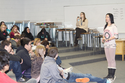 Guest speaker, Chandra McIvor (right) from the Avenue Community Centre for Gender and Sexual Diversity was in Meadow Lake Feb. 3 and 4 holding presentations at Jonas Samson Junior High School.