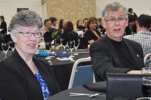 Long-time Meadow Lake residents Sheila and Bill Hart share a few laughs prior to the Meadow Lake and District Chamber of Commerce's Business Excellence Awards March 27.