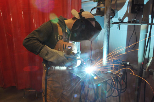 CHS welding student Ryley Pethick will be among those who will help craft a Frisbee golf course for Lions Park.