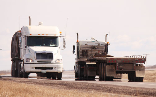 More large transport trucks have been using Northwest highways since the demise of the railway several years ago. Last year, Meadow Lake Fire and Rescue responded to six incidents involving large trucks. Here, two large trucks pass each other on Highway 55 east of Meadow Lake.