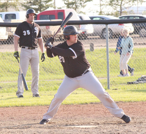 The Meadow Lake Senior Sox won their first two games of the season, but lost 3-1 against the Lloydminster Twins May 31 at Lions Park. The team plays its next home game today (June 2) against Edam. Here, Regan Beck prepares to swing as on-deck batter Quincy Winkler looks on.