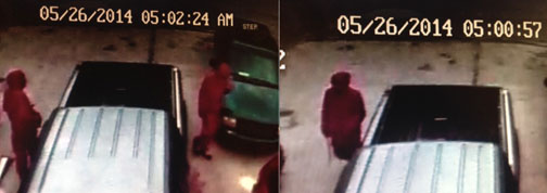 On May 26, two individuals dressed in matching red attire burglarized a vehicle on 4th Avenue West. A video camera installed at the residence recorded the images shown here.