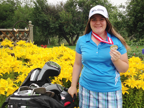 Meadow Lake golfer Alex Bernier with the gold medal she won at the Maple Leaf Junior Golf Tour's Golf Saskatchewan Order of Merit/Prodigy Series.