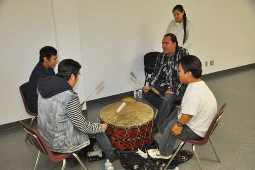 The Meadow Lake Tribal Council's Child and Family Services program celebrated its 20th anniversary with a special event at PineRidge Ford Place on Flying Dust First Nation Sept. 10. Here, members of the Waterhen Lake Juniors drum group perform a traditional song to kick off the event.
