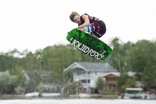 Meadow Lake's Zachary Zacharias performs a wakeboarding trick during a recent competition. Zacharias, 16, won two gold medals in the sport earlier this summer.