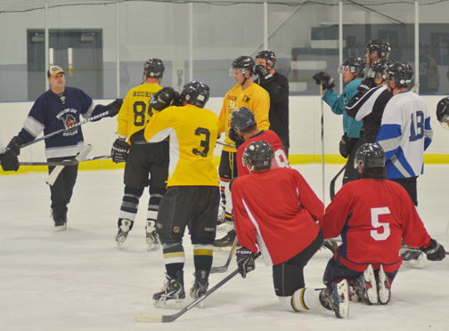 Darryl Worms leads fellow Meadow Lake Broncos players in a practice session at PineRidge Ford Place on Flying Dust First Nation Oct. 8. The Broncos' first home game this season is set for Nov. 15 against Beardy's.
