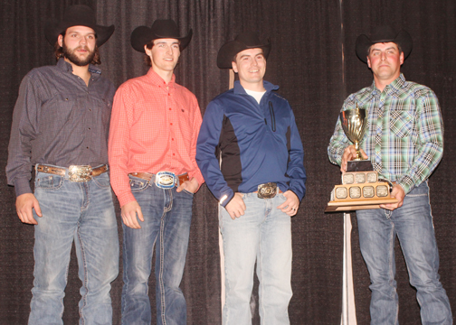 2014 Year-End Champion Vern Nolin (far right) accepts his third straight CPCA championship trophy Nov. 1 alongside outriders (left to right) Chance Bensmiller, Brett Nolin and Mick Nolin.