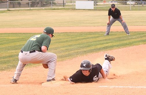 The Meadow Lake Sox are currently on a five-game winning streak in the North Saskatchewan River Baseball League. The team recently picked up two wins June 21 against the Mervin Flyers and North Battleford Beavers, as well as another June 19 in St. Walburg against the Reds. Here, Sox player Sheldon Gregoire slides safely back to first base after attempting to steal second.