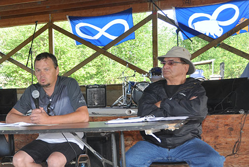 Geordy McCaffrey (left), executive director of Gabriel Dumont Institute, spoke about economic development opportunities during the Métis gathering held near Ile-a-la Crosse on the weekend. Also pictured is event co-chair Jim Durocher.