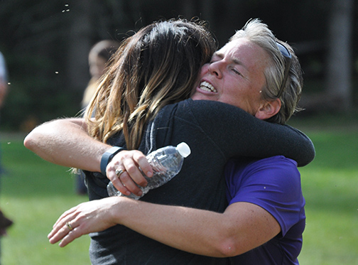 Dorintosh area resident Bluesette Campbell (right) receives a hug from Linda Warkentin moments after completing a full marathon at this year's Setting the Pace Race. The event, which served as an important fundraiser for the People Advocating for Children with Exceptionalities (PACE) organization, took place in the Meadow Lake Provincial Park Sept. 12.