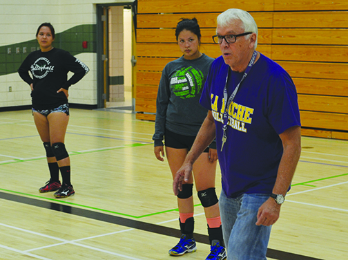A joint-practice session between the Carpenter High School girls volleyball team and their counterparts from La Loche was held in Meadow Lake last week. Here, La Loche coach Greg Hatch demonstrates some important footwork while player Aalayah Marion and assistant coach Rayona McKenzie look on.